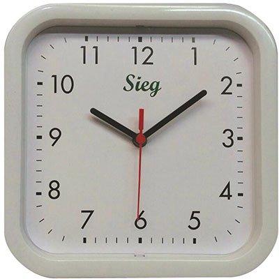 Relógio de Parede 25cm quadrado branco 2300-00 Sieg CX 1 UN