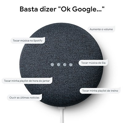 Google Nest Mini - Google Home Mini - Assistente Pessoal e de Voz - Carvão CX 1 UN