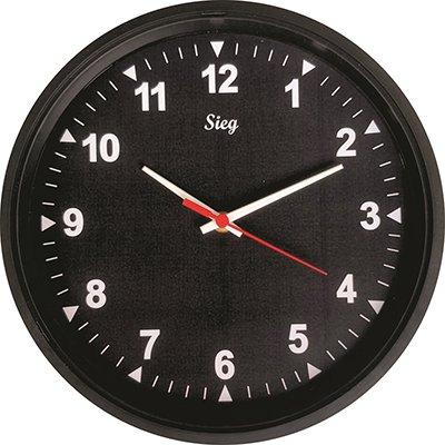 Relógio de Parede redondo 28cm fundo preto 2801-01 Sieg CX 1 UN