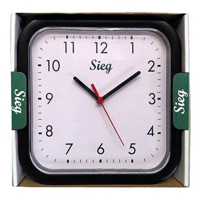 Relógio de Parede 25cm plástico quadrado preto 2300-01 Sieg CX 1 UN