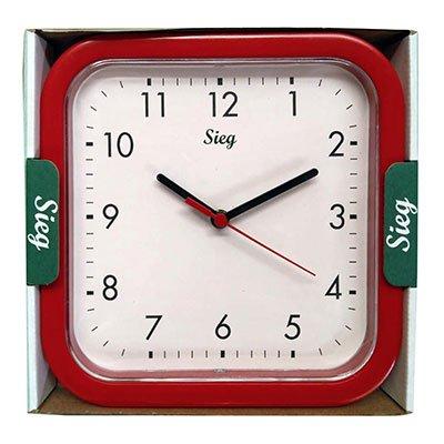 Relógio de Parede 25cm plástico quadrado vermelho 2300-02 Sieg CX 1 UN