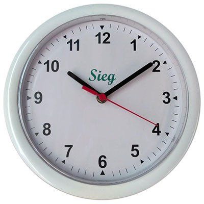 Relógio de Parede 24cm plástico redondo branco 2200-00 Sieg CX 1 UN