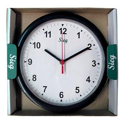 Relógio de Parede 24cm plástico redondo preto 2200-01 Sieg CX 1 UN