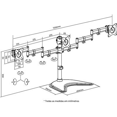 Suporte p/monitor até 3 monitores com ajuste T1236N Elg CX 1 UN