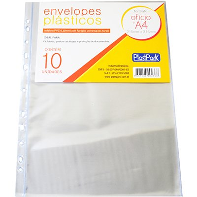 Protetor PVC A4 furação universal cristal 236 Plastpark PT 10 UN