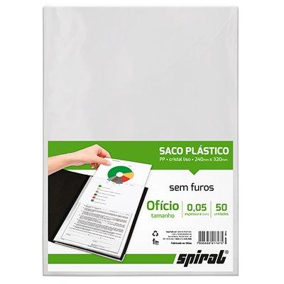 Saco plástico PP ofício s/ furos 0,05mm Spiral PT 50 UN