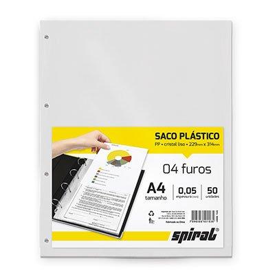 Saco plástico PP A4 4 furos 0,05mm A405-50 Spiral PT 50 UN