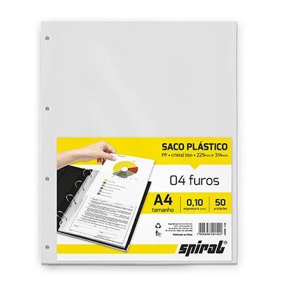 Saco plástico PP A4 4 furos 0,10mm A410-50 Spiral PT 50 UN