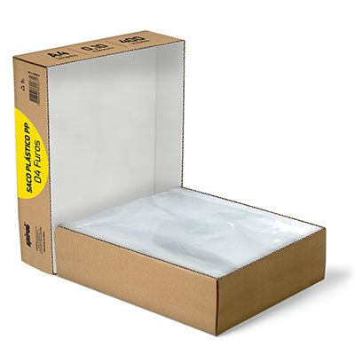 Saco plástico PP A4 4 furos 0,10mm A410-400 Spiral PT 400 UN