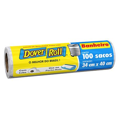 Saco para lixo banheiro branco dover roll 34x40cm Dover RL 100 UN