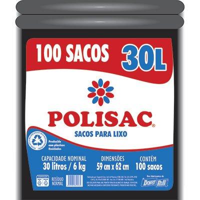 Saco para lixo 30lt preto reciclado Polisac 140020932 Dover PT 100 UN