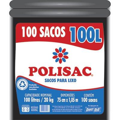 Saco para lixo 100lt preto reciclado Polisac 140020956 Dover PT 100 UN