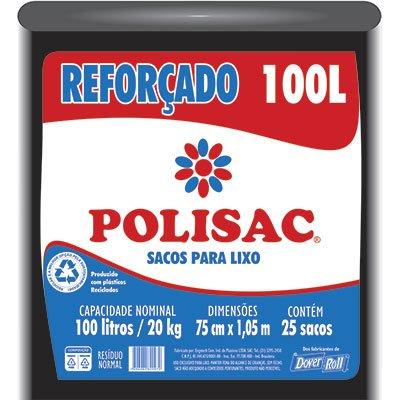 Saco para lixo 100lt preto reforçado Polisac 140020970 Dover PT 25 UN
