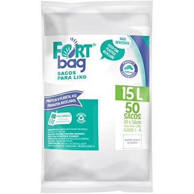 Saco para lixo 15lt branco Fortbag PT 50 UN
