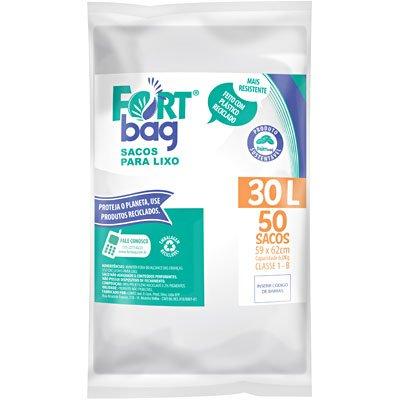 Saco para lixo 30lt branco Fortbag PT 50 UN