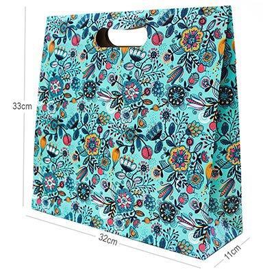 Caixa trapézio duplex 250g 32x11x33 floral azul Kawagraf PT 1 UN