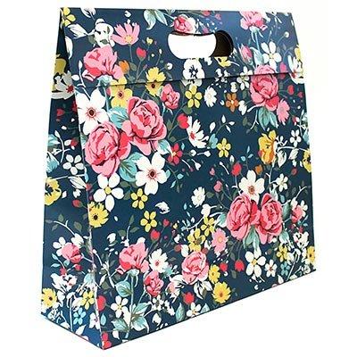 Caixa trapézio duplex 250g 32x11x33 floral rosa Kawagraf PT 1 UN
