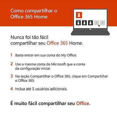 Office 365 Home: 1 licença para até 6 usuários (PC, Mac, Android e IOS) + 1 TB de HD Virtual para cada Usuário Assinatura Anual Microsoft  CX 1 UN