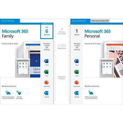 Microsoft 365 Family: 1 licença para até 6 usuários - Word, Excel, PowerPoint, Outlook + 1TB de HD Virtual para cada Usuário - Assinatura Anual - DOWNLOAD - Microsoft - UN 1 UN