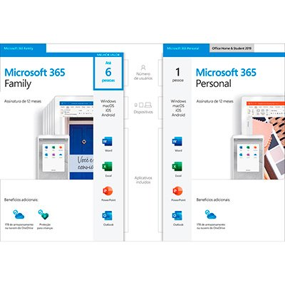 Microsoft 365 Personal: 1 Licença - Word, Excel, PowerPoint, Outlook + 1TB de HD Virtual - Assinatura Anual - Microsoft - UN 1 UN