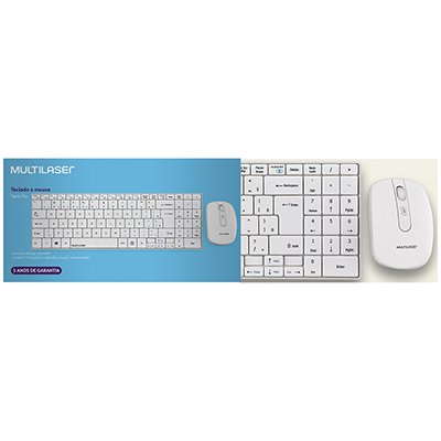 Kit wireless (teclado/mouse) multimidia branco TC203 Multilaser CX 1 UN