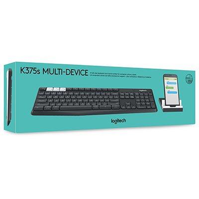 Teclado sem fio bluetooth Multi Device K375S Logitech CX 1 UN