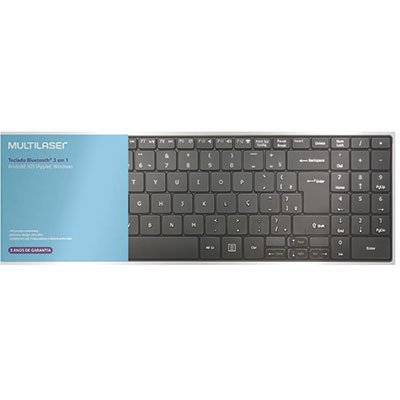 Teclado sem fio Bluetooth multimidia preto TC220 Multilaser CX 1 UN