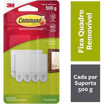 Fecho Adesivo para Quadros 3M Command até 500g Branco - Tamanho Pequeno BT 4 UN