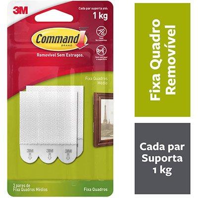 Fecho Adesivo para Quadros 3M Command até 1kg Branco - Tamanho Médio BT 3 UN