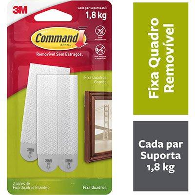 Fecho Adesivo para Quadros 3M Command até 1,8kg Branco - Tamanho Grande BT 2 UN