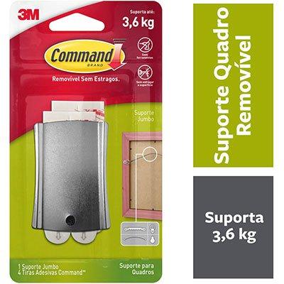 Suporte Adesivo Metalizado para Quadros 3M Command até 3,6kg - Tamanho Grande BT 1 UN