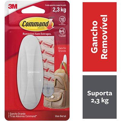 Gancho Adesivo Command 3M até 2,3kg design grande  BT 1 UN