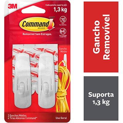 Gancho Adesivo Command 3M até 1,3kg branco H000181811 - tamanho médio PT 2 UN