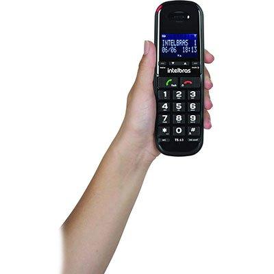 Telefone s/ fio Dect 6.0  c/ identificador de chamadas preto TS63V Intelbras CX 1 UN