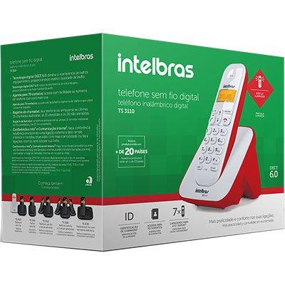 Telefone s/ fio Dect 6.0  c/ identificador de chamadas vermelho TS3110 Intelbras CX 1 UN
