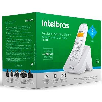 Telefone s/ fio Dect 6.0  c/ identificador de chamadas branco TS3110 Intelbras CX 1 UN