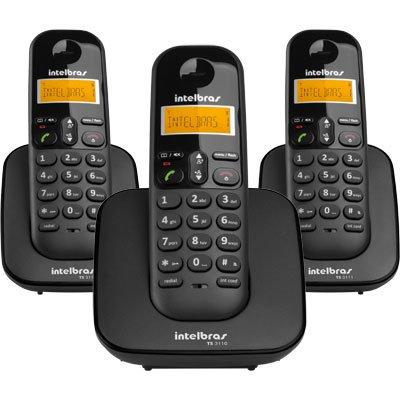Telefone s/ fio Dect 6.0 c/ identificador de chamadas + 2 ramais preto TS3113 Intelbras CX 1 UN