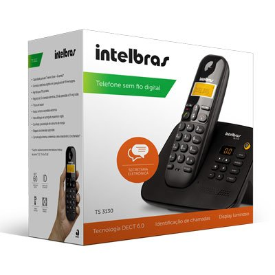 Telefone s/ fio Dect 6.0 c/ identificador de chamadas e secretária preto TS3130 Intelbras CX 1 UN