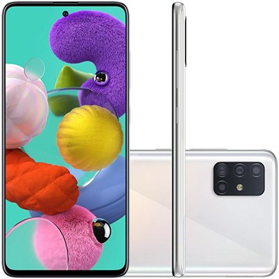 """Smartphone Galaxy A51 A515F, Android 10, 128GB de Armazenamento, Câmera Frontal de 32MP, Câmera Traseira quádrupla de 48.0 MP + 12.0 MP + 5.0 MP + 5.0 MP, Tela de 6.5"""" Branco Samsung CX 1 UN"""