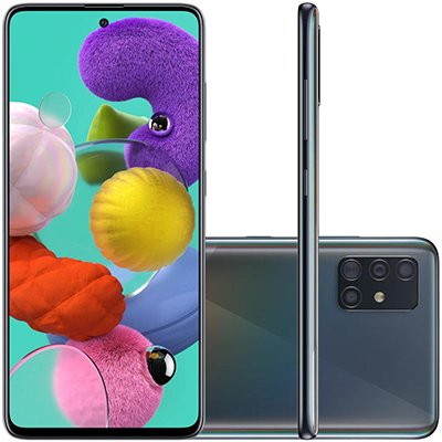 Smartphone Galaxy A51 A515F, Android 10.0, 128GB de Armazenamento,  Câmera Frontal de 32MP, Câmera Traseira quádrupla de 48 MP + 12 MP + 5 MP + 5 MP, Tela 6.5, Preto - Samsung CX 1 UN