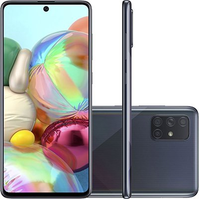 "Smartphone Galaxy A71 A715F, Android 9, Câmera Frontal de 32MP, Câmera Traseira Quádrupla 64MP+12MP+5MP+5MP, 128GB de Armazenamento, Tela de 6.7"", Preto - Samsung CX 1 UN"