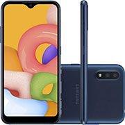 Smartphone Galaxy A01, Android 10, 32GB de Armazenamento, Câmera Frontal 5MP, Câmera Traseira Dupla de 13MP + 2MP, Tela de 5.7, Azul - Samsung CX 1 UN