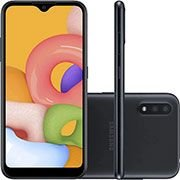 Smartphone Galaxy A01, Android 10, Memória Interna de 32gb, Câmera Frontal 5mp, Tela de 5,7, Câmera Traseira 16mp + 2mp (Profundidade), Preto - Samsung CX 1 UN