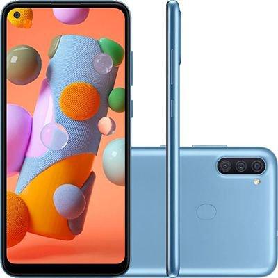Smartphone Galaxy A11, Android 10, 64GB de Armazenamento, Câmera Frontal de 8MP, Câmera Traseira de 13MP + 2MP + 5MP, Tela 6.4, Azul - Samsung CX 1 UN