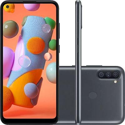 "Smartphone Galaxy A11, Android 10, 64GB de Armazenamento, Câmera Frontal de 8MP, Tela de 6,4"", Câmera Traseira de 13MP + 2MP + 5MP, Tela de 6.4, Preto - Samsung CX 1 UN"