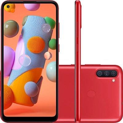 """Smartphone Galaxy A11, Android 10, 64GB de Armazenamento, Câmera Frontal de 8MP, Câmera Traseira Tripla de 13MP + 2MP + 5MP, Tela de 6.4"""", Vermelho - Samsung CX 1 UN"""