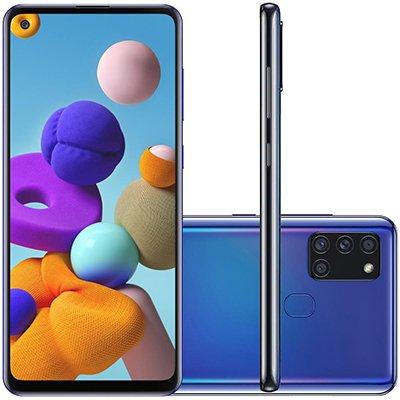 """Smartphone Galaxy A21s A217M, Android 10, 64GB de Armazenamento, Câmera Frontal de 13MP, Câmera Traseira Quádrupla 48MP + 8MP + 2MP + 2MP, Tela de 6.5"""", Azul - Samsung CX 1 UN"""