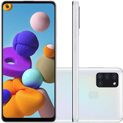 "Smartphone Galaxy A21s A217M, Câmera Frontal 13MP, Câmera Traseira 48MP+8MP+2MP+2MP, Android 10, 64gb de Armazenamento, Câmera de 48mp, Tela de 6.5"", Branco - Samsung CX 1 UN"
