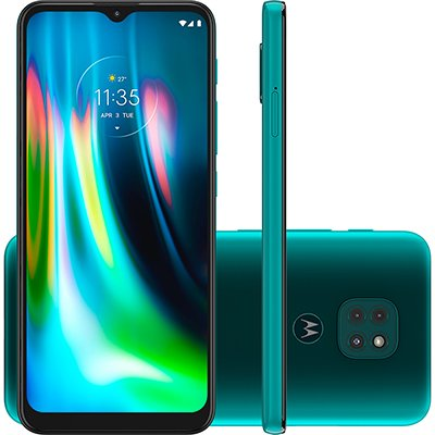 "Smartphone Moto G9 Play XT2083-1, Câmera Tripla 48MP + 2MP + 8MP, 64GB de Armazenamento, Tela de 6,5"", Verde Turquesa - Motorola CX 1 UN"