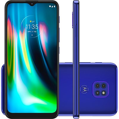 "Smartphone Moto G9 Play XT2083-1, Câmera Tripla 48MP + 2MP + 8MP, 64GB de Armazenamento, Tela de 6,5"", Azul Safira - Motorola CX 1 UN"